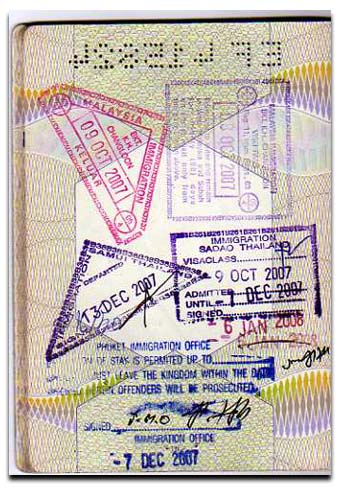 Thailand visa on arrival stamp
